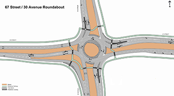 Image of roundabout at 67 Street and 30 Avenue