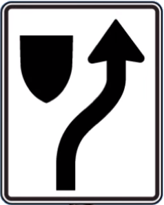 Divider ahead sign