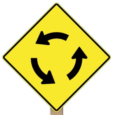 roundabout approaching sign