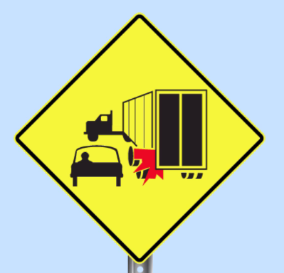 truck encroachment sign